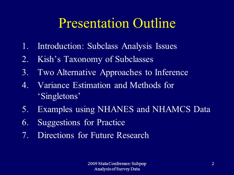 2009 Stata Conference: Subpop Analysis of Survey Data 23 Conditional Approach: Results MethodEst.