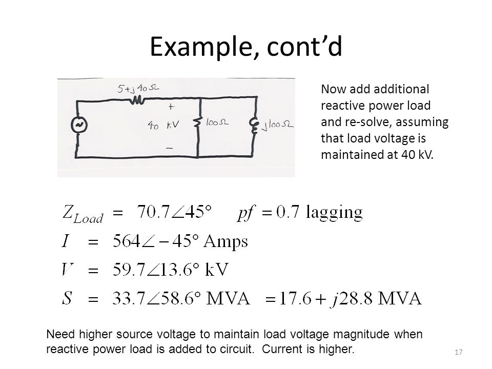 Example, contd Now add additional reactive power load and re-solve, assuming that load voltage is maintained at 40 kV. 17 Need higher source voltage t