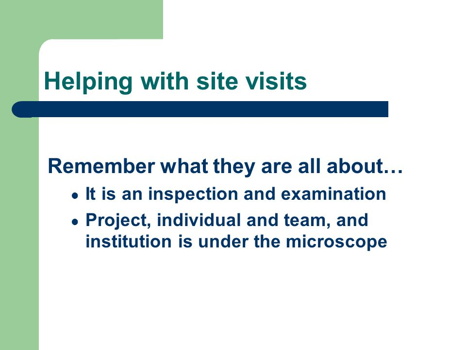 Helping with site visits Remember what they are all about… It is an inspection and examination Project, individual and team, and institution is under the microscope