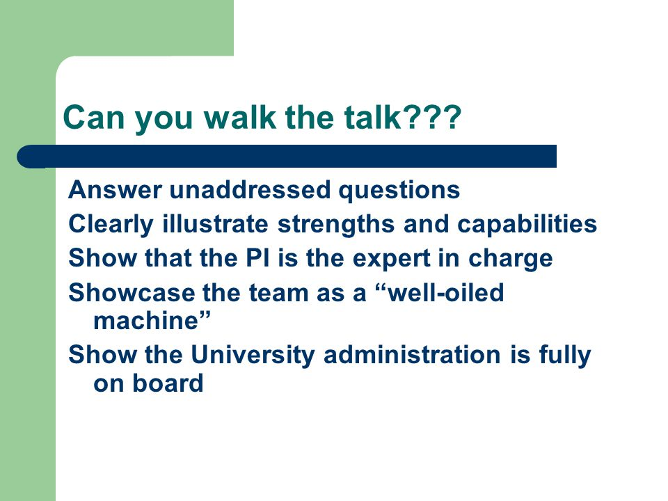 Can you walk the talk??? Answer unaddressed questions Clearly illustrate strengths and capabilities Show that the PI is the expert in charge Showcase