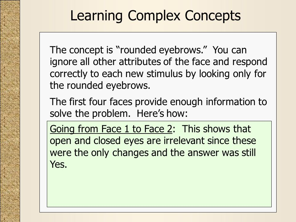 Learning Complex Concepts The first four faces provide enough information to solve the problem.