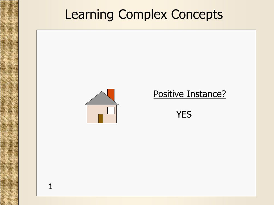 Learning Complex Concepts Positive Instance? YES 1