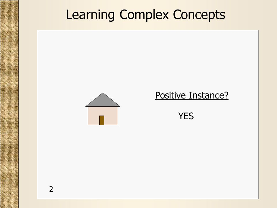 Learning Complex Concepts Positive Instance? YES 2