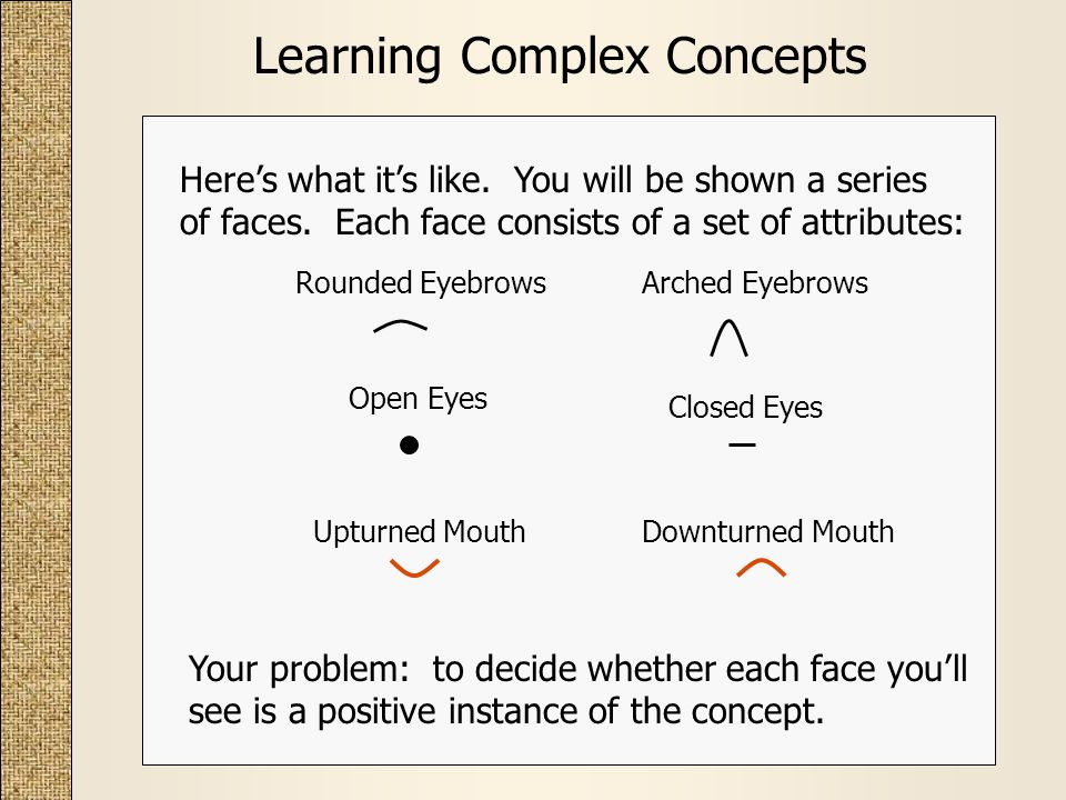 Learning Complex Concepts Heres what its like. You will be shown a series of faces.