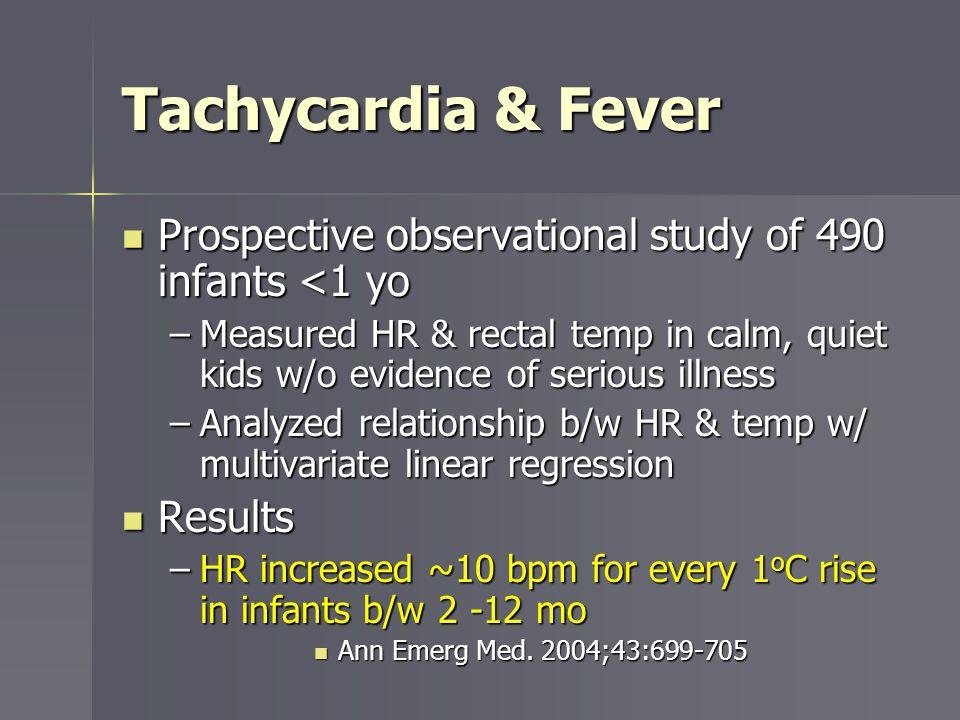 Tachycardia & Fever Prospective observational study of 490 infants <1 yo Prospective observational study of 490 infants <1 yo –Measured HR & rectal te