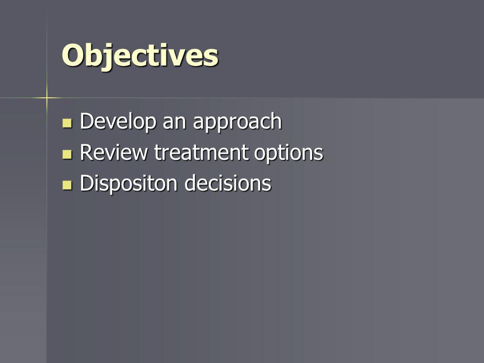 Objectives Develop an approach Develop an approach Review treatment options Review treatment options Dispositon decisions Dispositon decisions