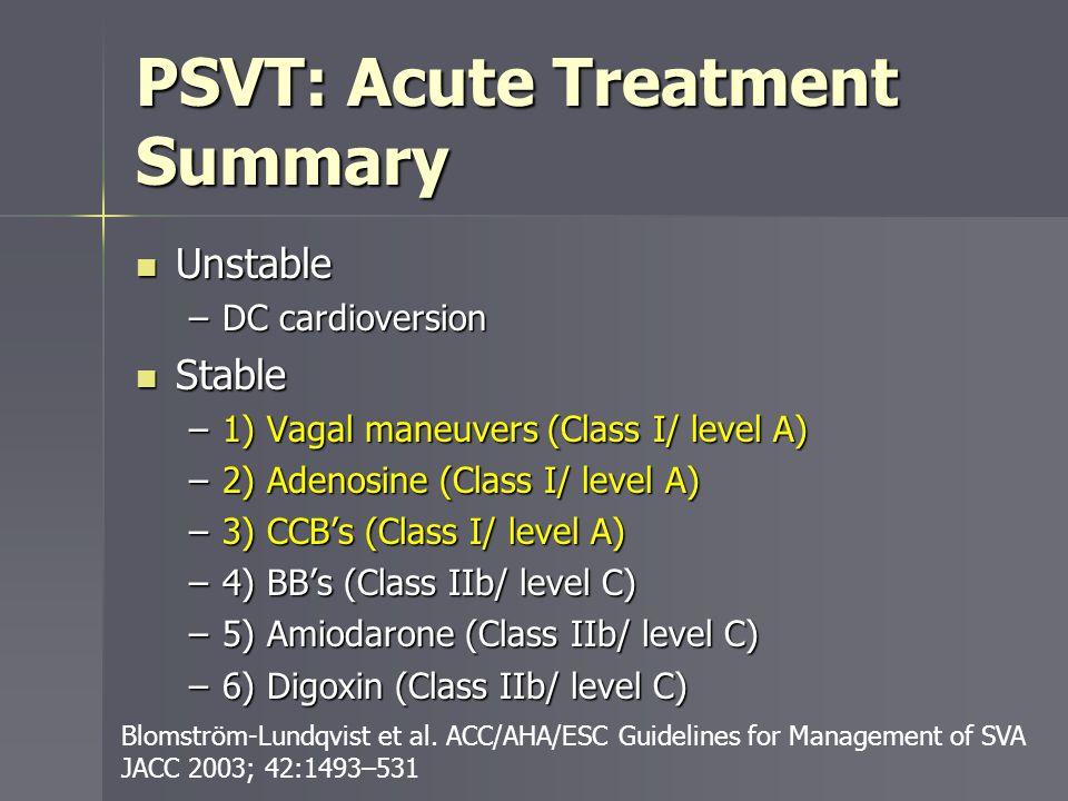 PSVT: Acute Treatment Summary Unstable Unstable –DC cardioversion Stable Stable –1) Vagal maneuvers (Class I/ level A) –2) Adenosine (Class I/ level A