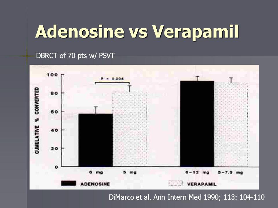 Adenosine vs Verapamil DiMarco et al. Ann Intern Med 1990; 113: 104-110 DBRCT of 70 pts w/ PSVT