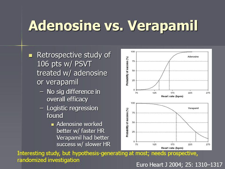 Adenosine vs. Verapamil Retrospective study of 106 pts w/ PSVT treated w/ adenosine or verapamil Retrospective study of 106 pts w/ PSVT treated w/ ade