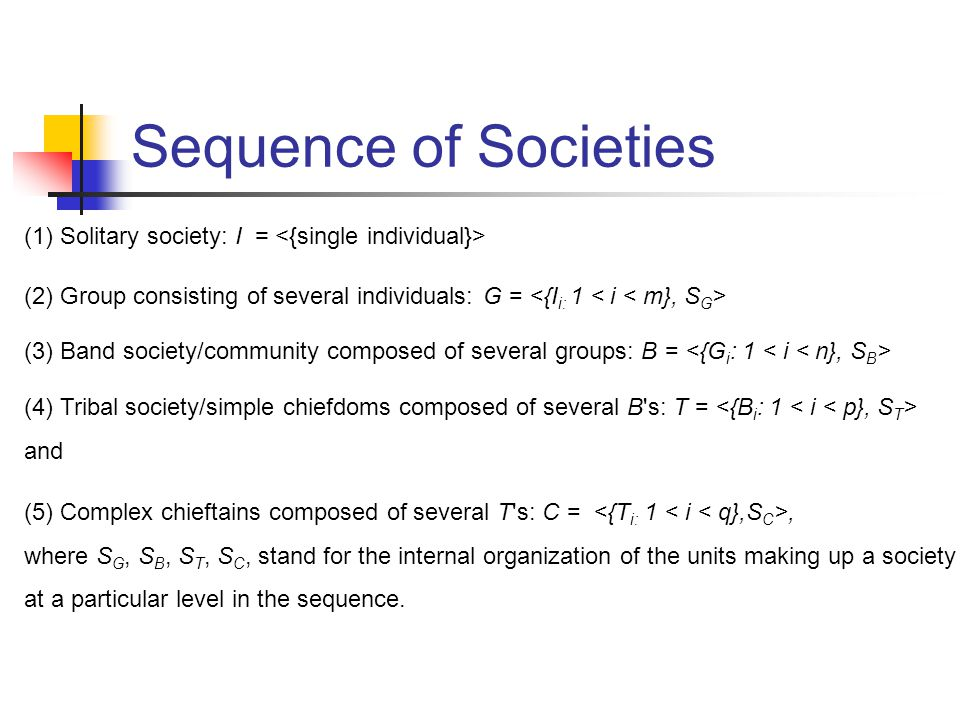 Sequence of Societies (1) Solitary society: I = (2) Group consisting of several individuals: G = (3) Band society/community composed of several groups: B = (4) Tribal society/simple chiefdoms composed of several B s: T = and (5) Complex chieftains composed of several T s: C =, where S G, S B, S T, S C, stand for the internal organization of the units making up a society at a particular level in the sequence.