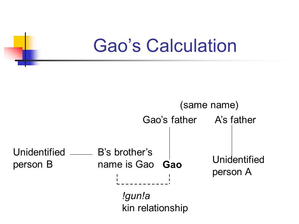 Gaos Calculation Gao Gaos father Unidentified person A As father Unidentified person B Bs brothers name is Gao (same name) !gun!a kin relationship