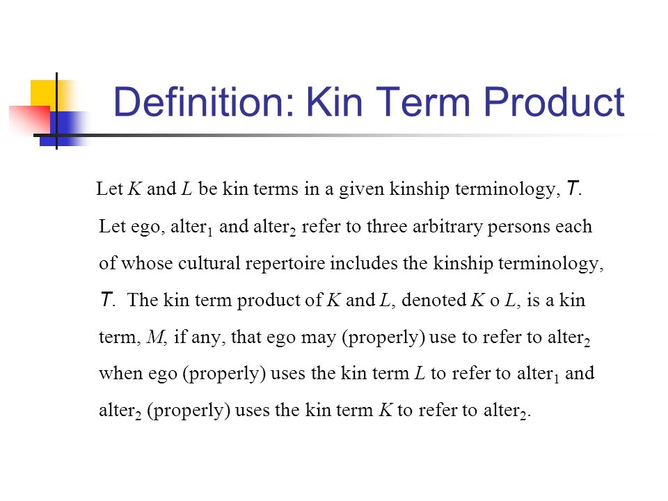 Definition: Kin Term Product Let K and L be kin terms in a given kinship terminology, T. Let ego, alter 1 and alter 2 refer to three arbitrary persons