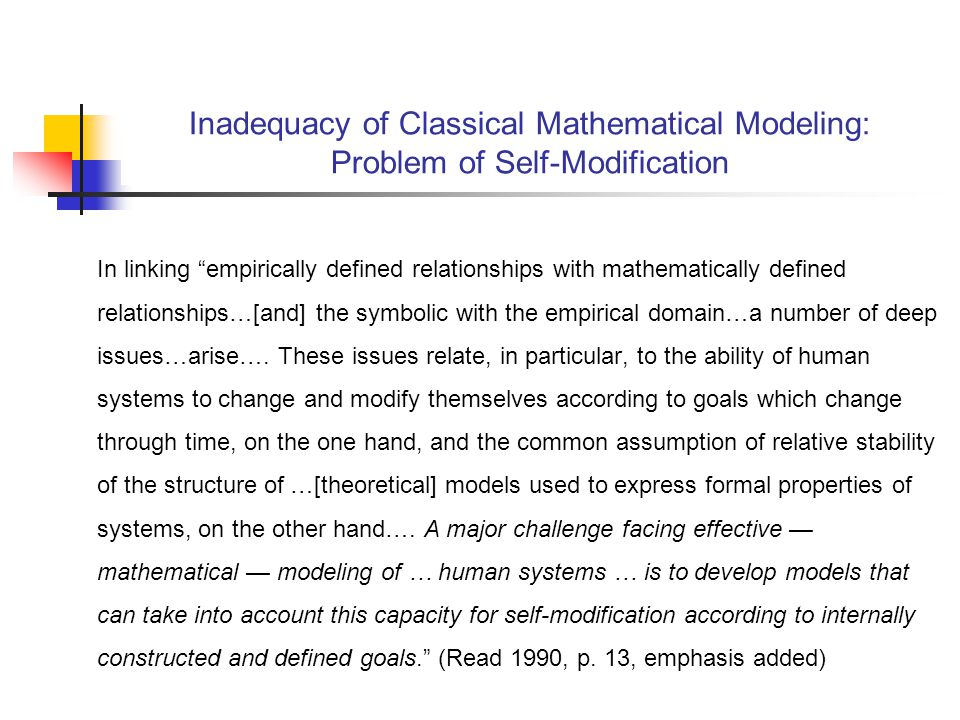 In linking empirically defined relationships with mathematically defined relationships…[and] the symbolic with the empirical domain…a number of deep issues…arise….
