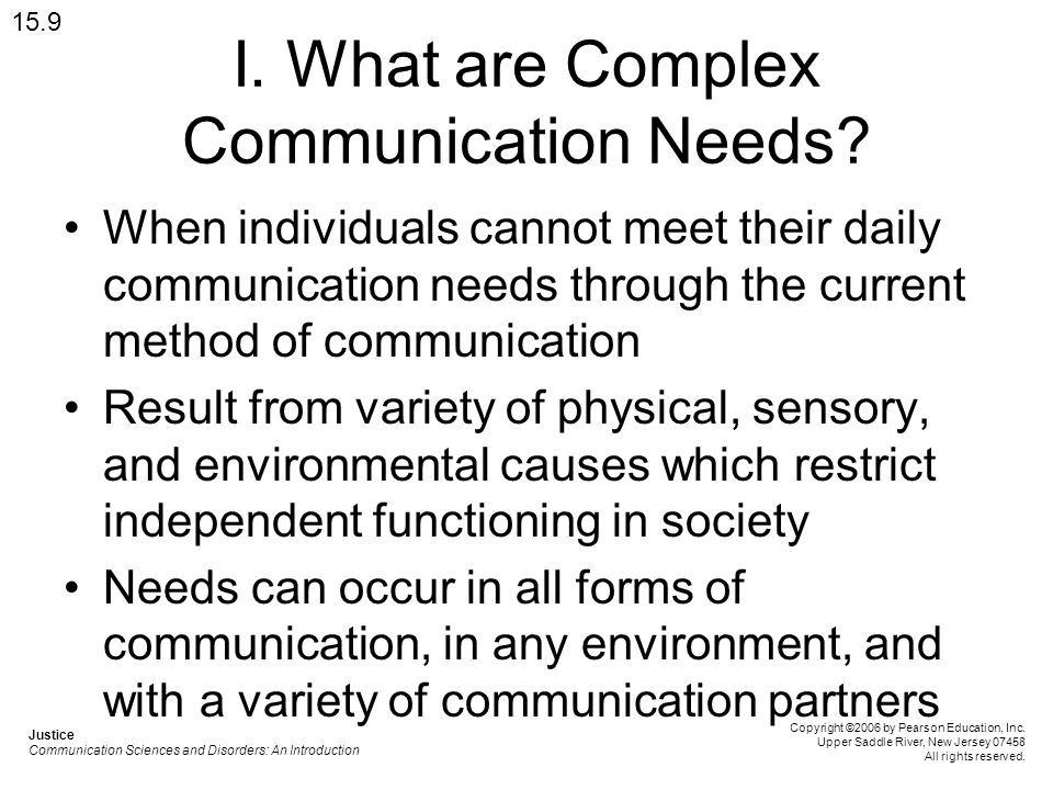 I. What are Complex Communication Needs.