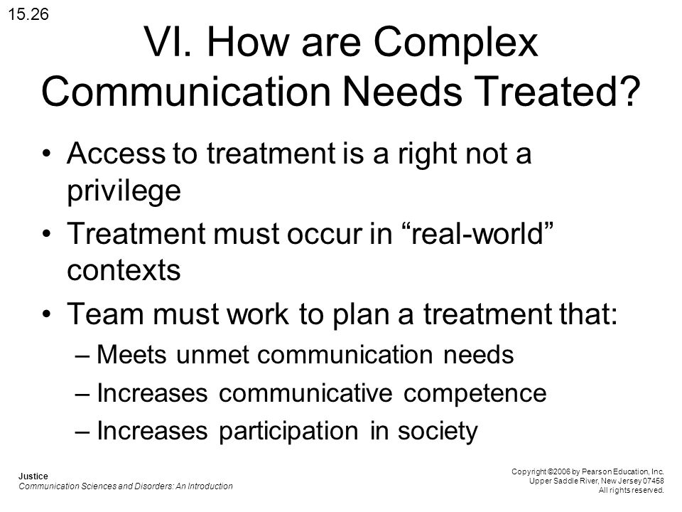 VI. How are Complex Communication Needs Treated.