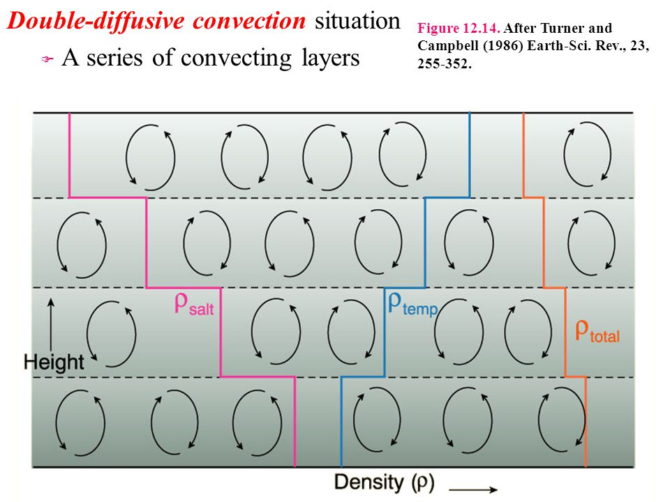Double-diffusive convection situation F F A series of convecting layers Figure 12.14. After Turner and Campbell (1986) Earth-Sci. Rev., 23, 255-352.