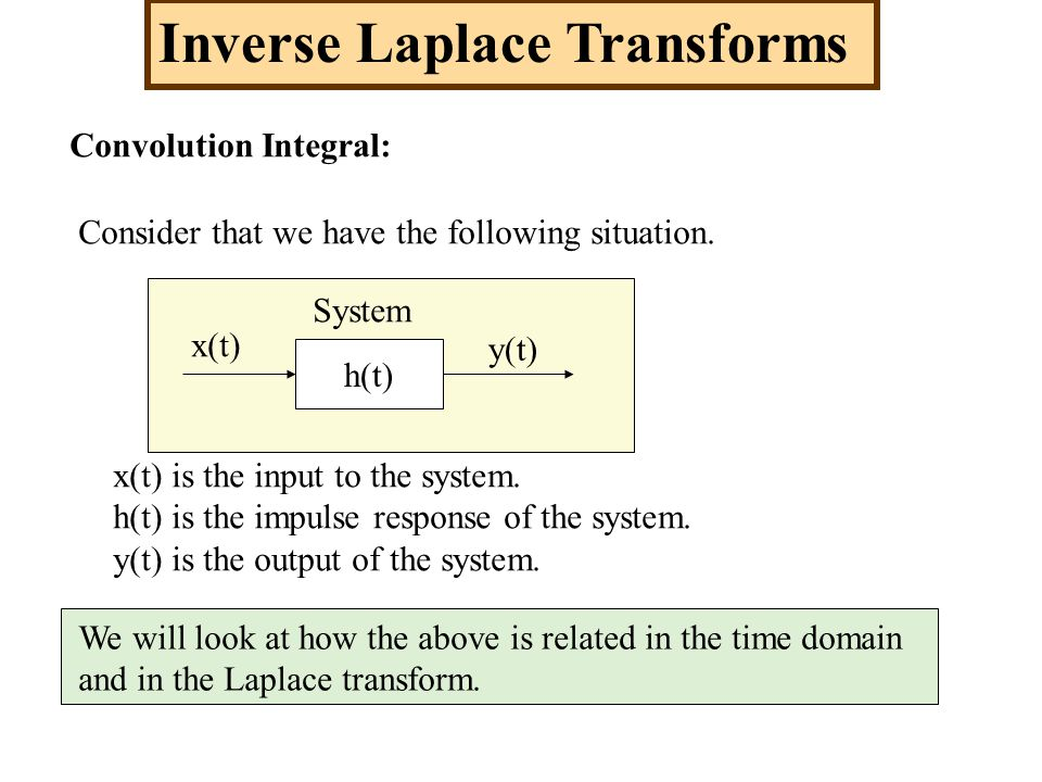 Inverse Laplace Transforms Convolution Integral: Consider that we have the following situation. h(t) x(t) y(t) x(t) is the input to the system. h(t) i