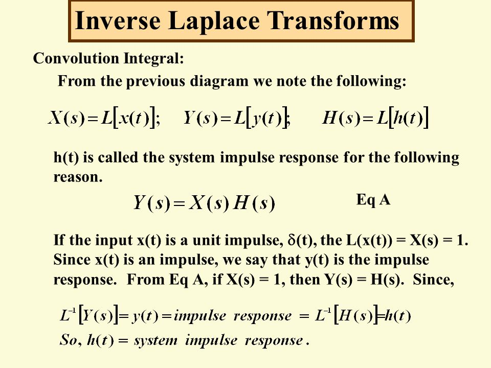 Inverse Laplace Transforms Convolution Integral: From the previous diagram we note the following: h(t) is called the system impulse response for the f