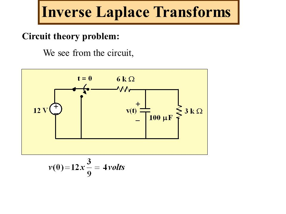 Circuit theory problem: Inverse Laplace Transforms We see from the circuit,