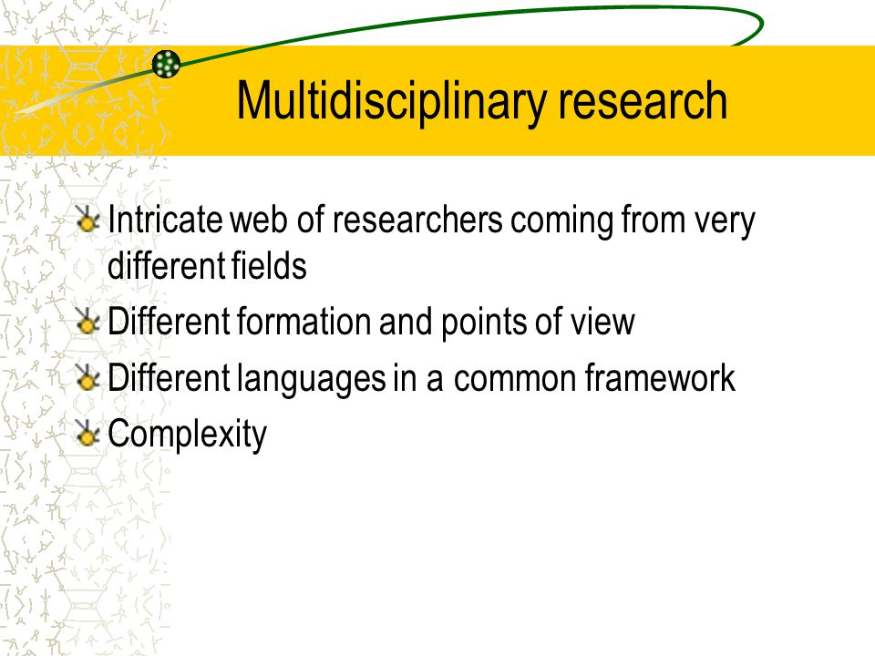 Multidisciplinary research Intricate web of researchers coming from very different fields Different formation and points of view Different languages in a common framework Complexity