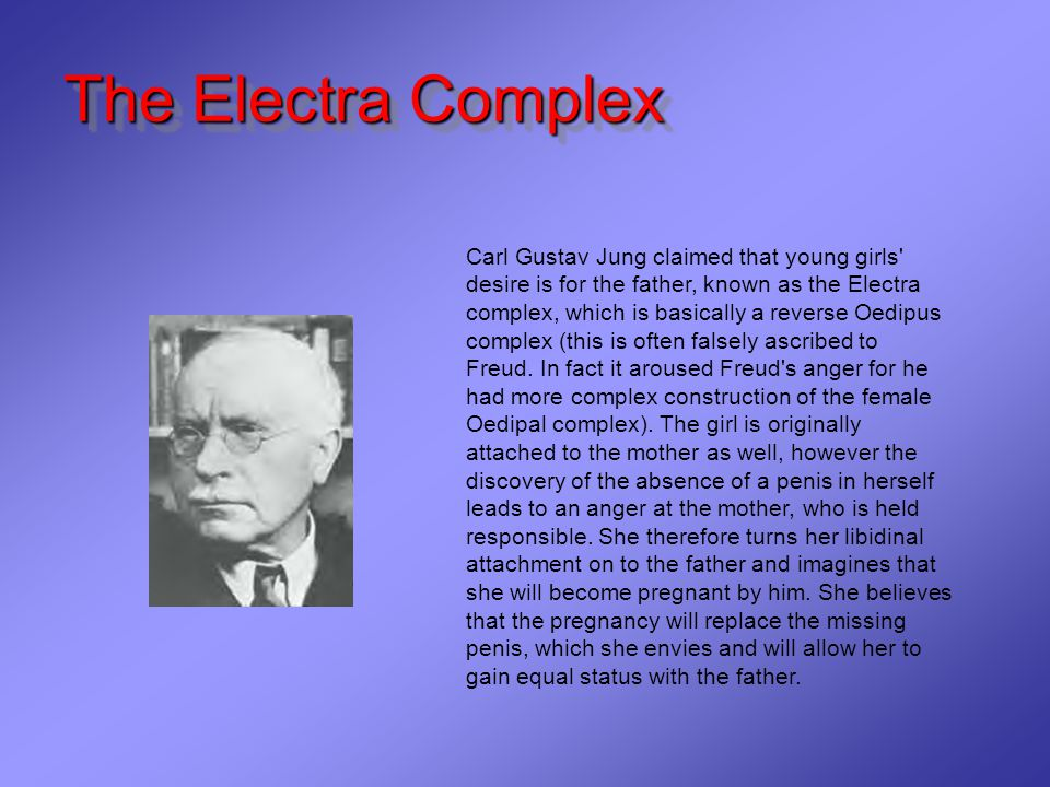 The Electra Complex The Electra Complex Carl Gustav Jung claimed that young girls desire is for the father, known as the Electra complex, which is basically a reverse Oedipus complex (this is often falsely ascribed to Freud.