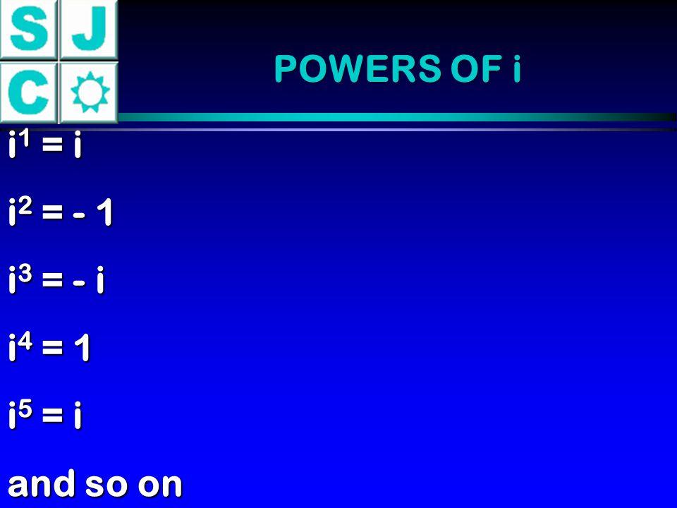 POWERS OF i i 1 = i i 2 = - 1 i 3 = - i i 4 = 1 i 5 = i and so on