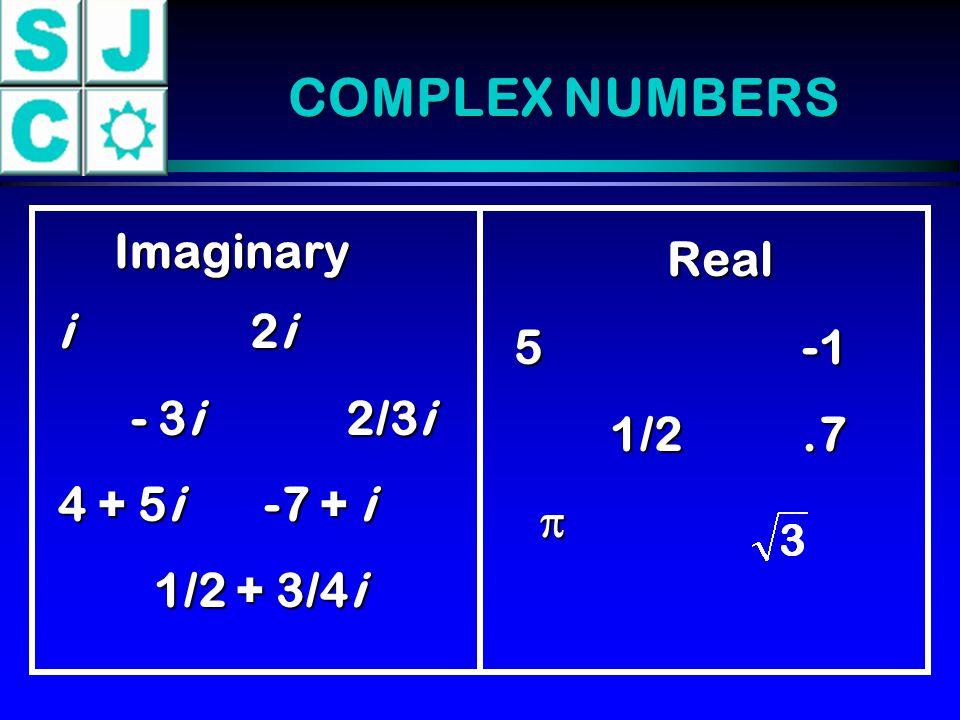 COMPLEX NUMBERS Imaginary Real 5-1 1/2.7 i2i - 3i2/3i - 3i2/3i 4 + 5i -7 + i 1/2 + 3/4i