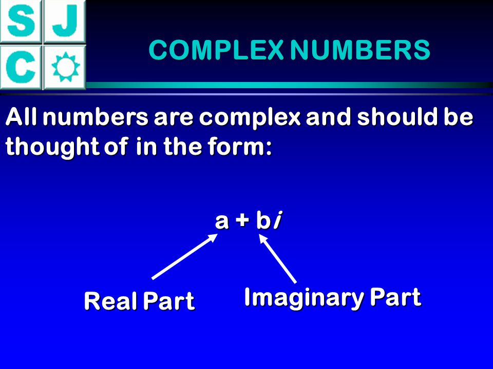 COMPLEX NUMBERS a + bi Real Part Imaginary Part When b = 0, the number is a real number.
