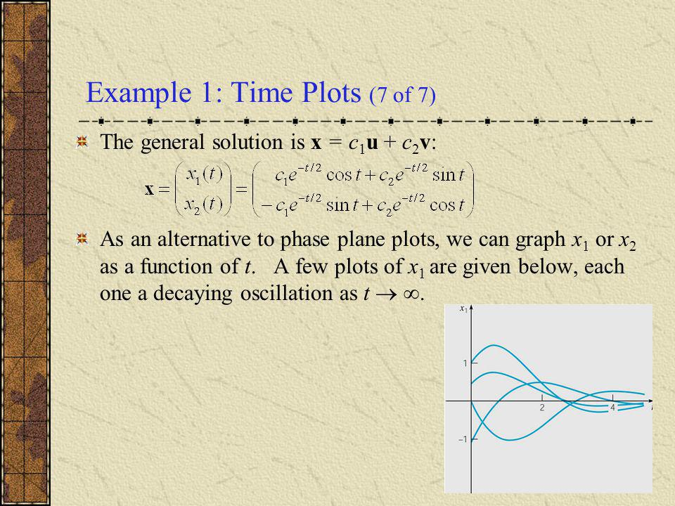 Example 1: Time Plots (7 of 7) The general solution is x = c 1 u + c 2 v: As an alternative to phase plane plots, we can graph x 1 or x 2 as a functio