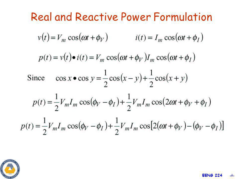 19 EENG 224 Real and Reactive Power Formulation