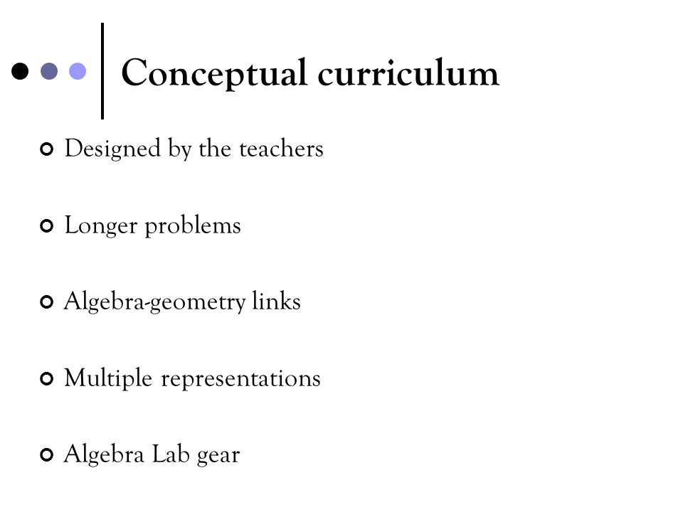 Conceptual curriculum Designed by the teachers Longer problems Algebra-geometry links Multiple representations Algebra Lab gear