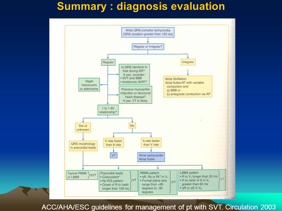 Summary : diagnosis evaluation ACC/AHA/ESC guidelines for management of pt with SVT. Circulation 2003