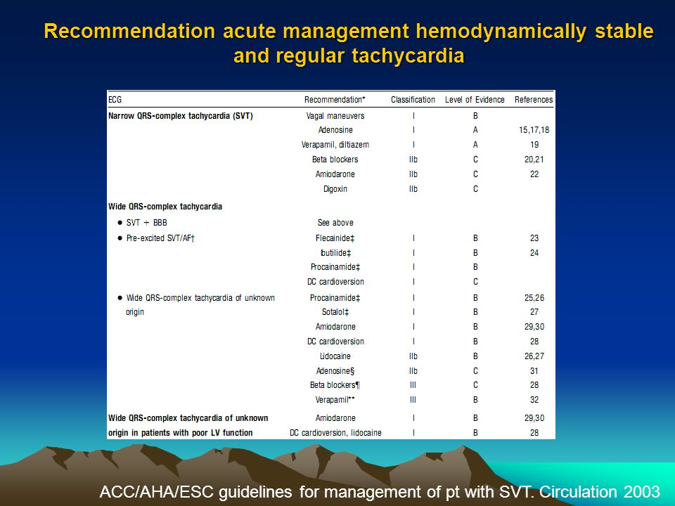 Recommendation acute management hemodynamically stable and regular tachycardia ACC/AHA/ESC guidelines for management of pt with SVT. Circulation 2003