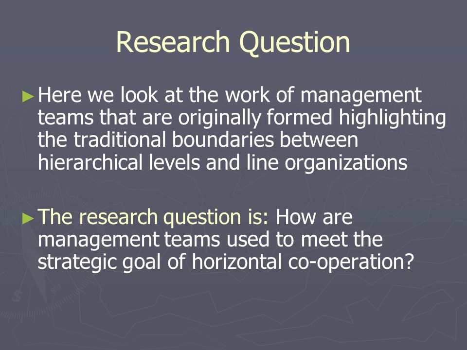 Material and Methods We studied 8 of the hospitals management teams in three different levels Top management team Activity area level management teams Unit level management teams