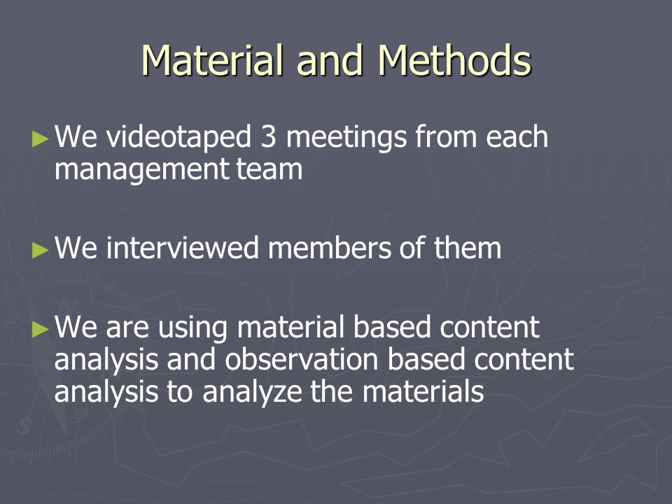 The Results A lot of time and human resources were spent for taking part in the management teams 8-20 persons per team 1-3 hours per meeting 1 or 2 times a month