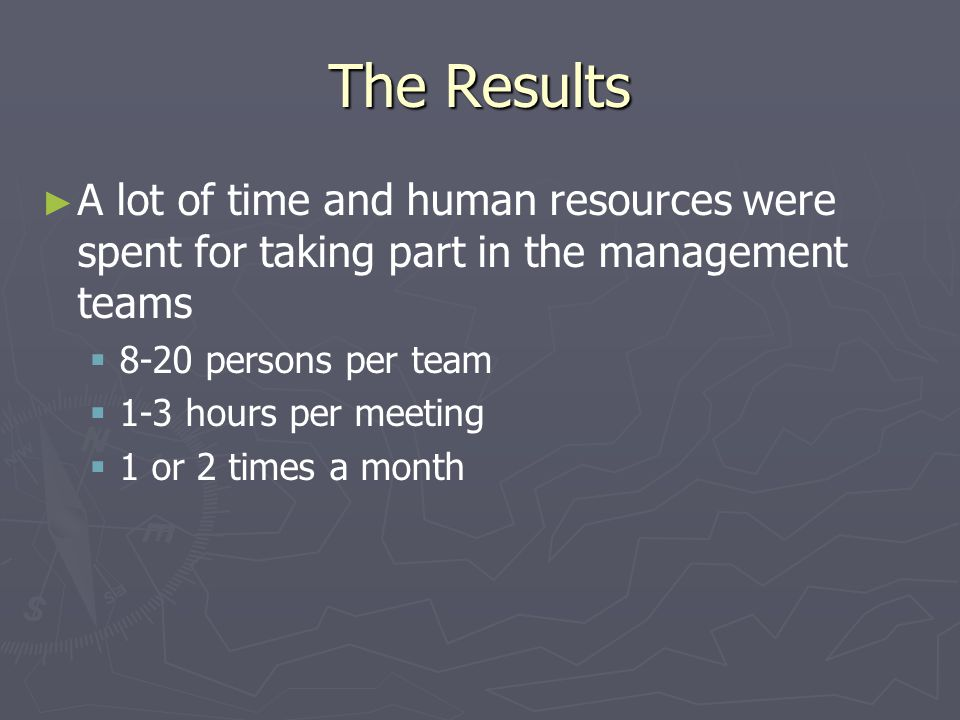 The Results Construction of the management teams was diverse: On the upper level the management teams were larger there were more men in them they were led by men In the unit level there were more nursing managers in the management teams they were led by women