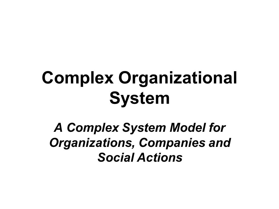 Complex Organizational System A Complex System Model for Organizations, Companies and Social Actions