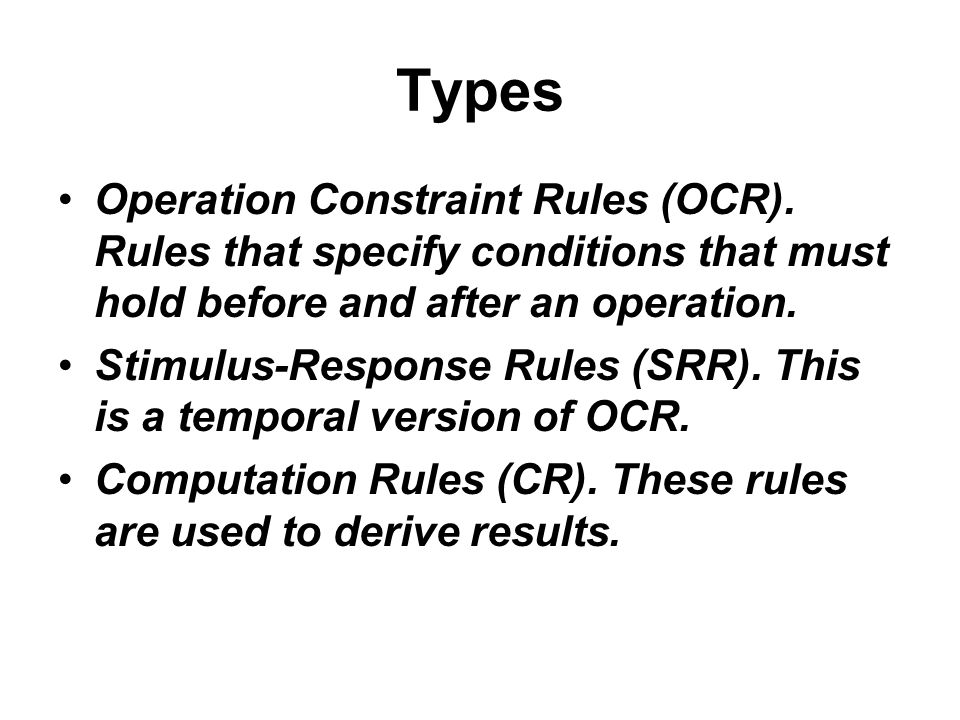Types Operation Constraint Rules (OCR).