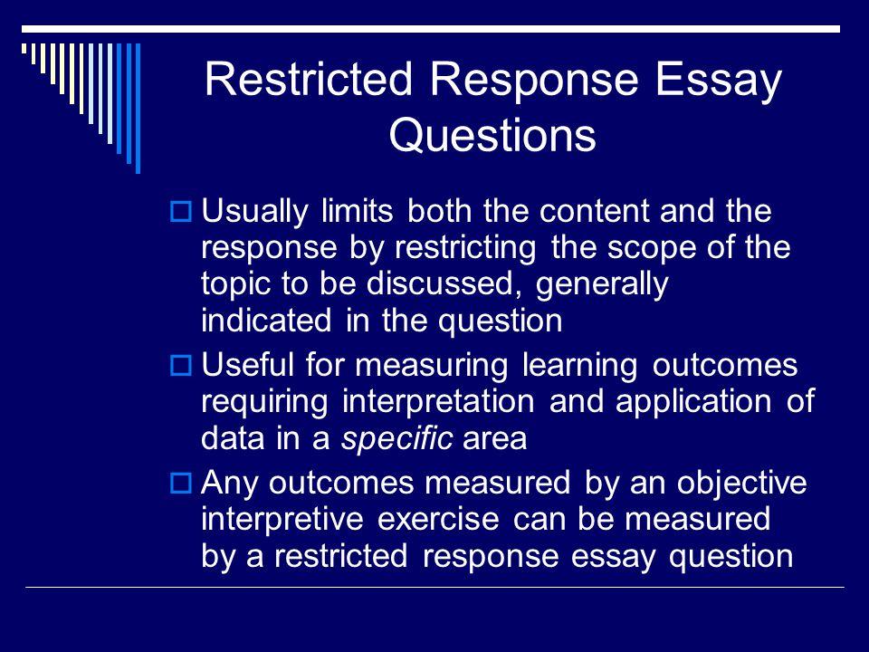 restricted response essay item