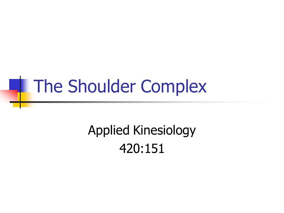The Shoulder Complex Applied Kinesiology 420:151