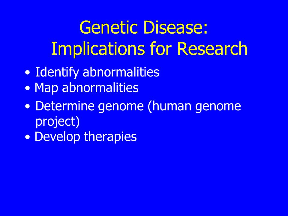 Genetic Disease: Implications for Research Identify abnormalities Map abnormalities Determine genome (human genome project) Develop therapies