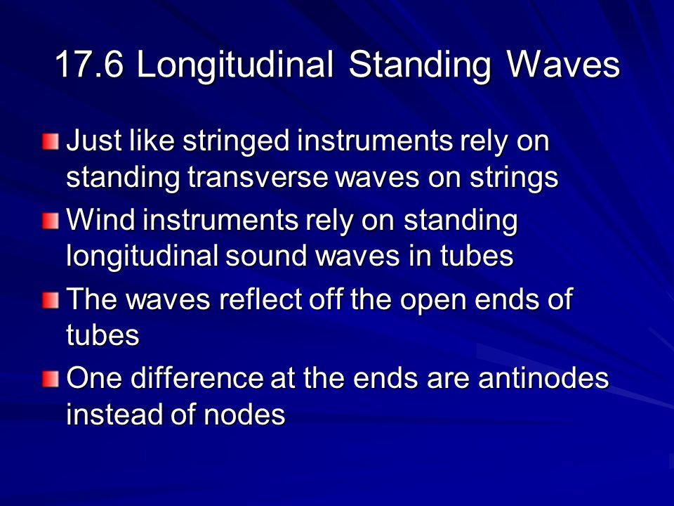 Formula for Tube Open at Both Ends Distance between antinodes = ½ Distance between antinodes = ½ Tube must be integer number of ½ Tube must be integer number of ½ –L = n(1/2 n ) or n = 2 L/n f n = v / n