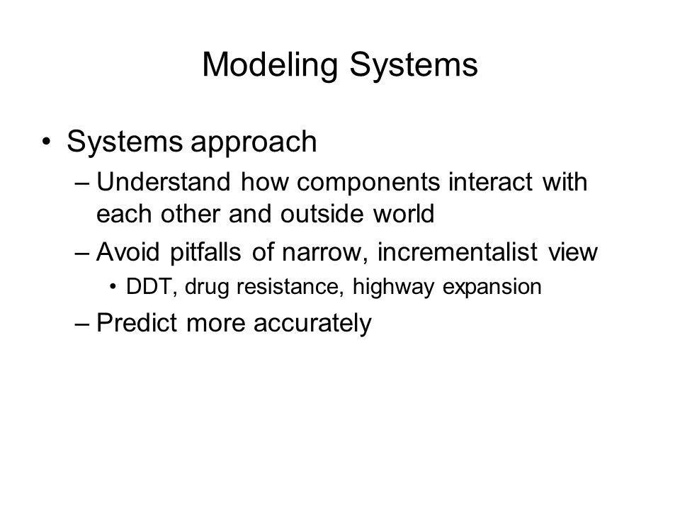 Modeling Systems Systems approach –Understand how components interact with each other and outside world –Avoid pitfalls of narrow, incrementalist view DDT, drug resistance, highway expansion –Predict more accurately