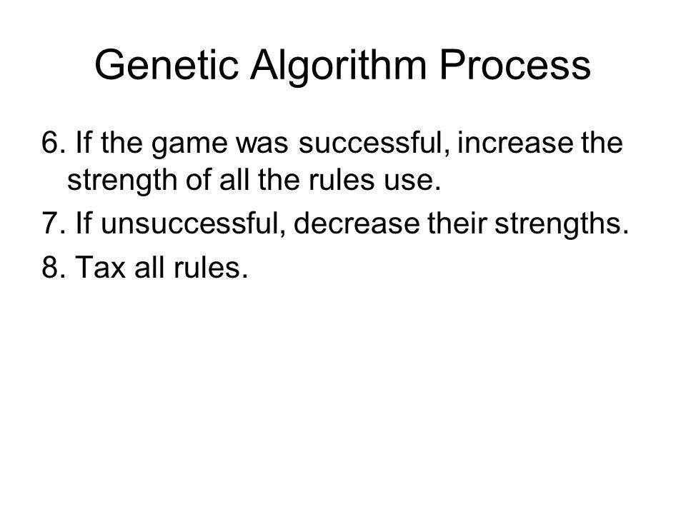 Genetic Algorithm Process 6. If the game was successful, increase the strength of all the rules use. 7. If unsuccessful, decrease their strengths. 8.