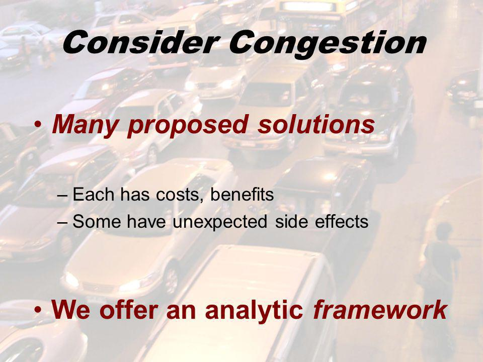 Consider Congestion Many proposed solutions –Each has costs, benefits –Some have unexpected side effects We offer an analytic framework