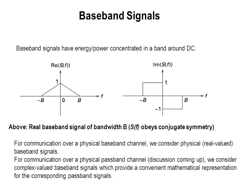 Passband Signals Passband signals have energy/power concentrated in a band away from DC.