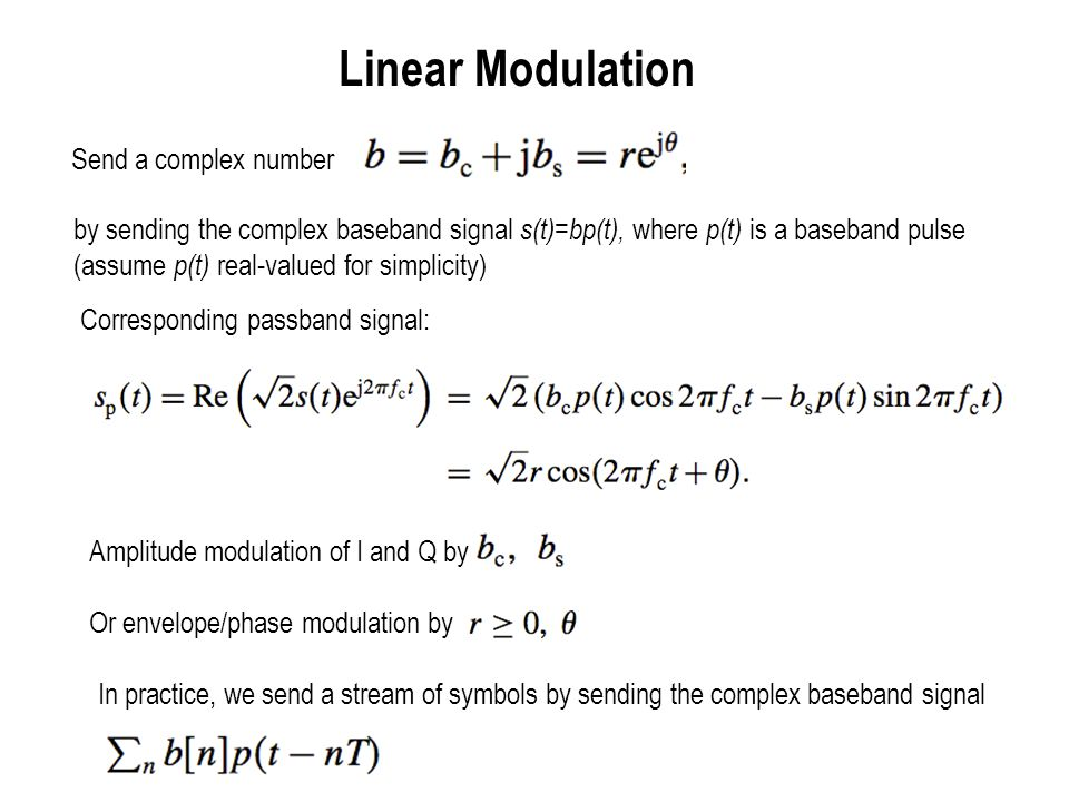 Some constellations for linear modulation Symbol b is typically chosen from a finite constellation.
