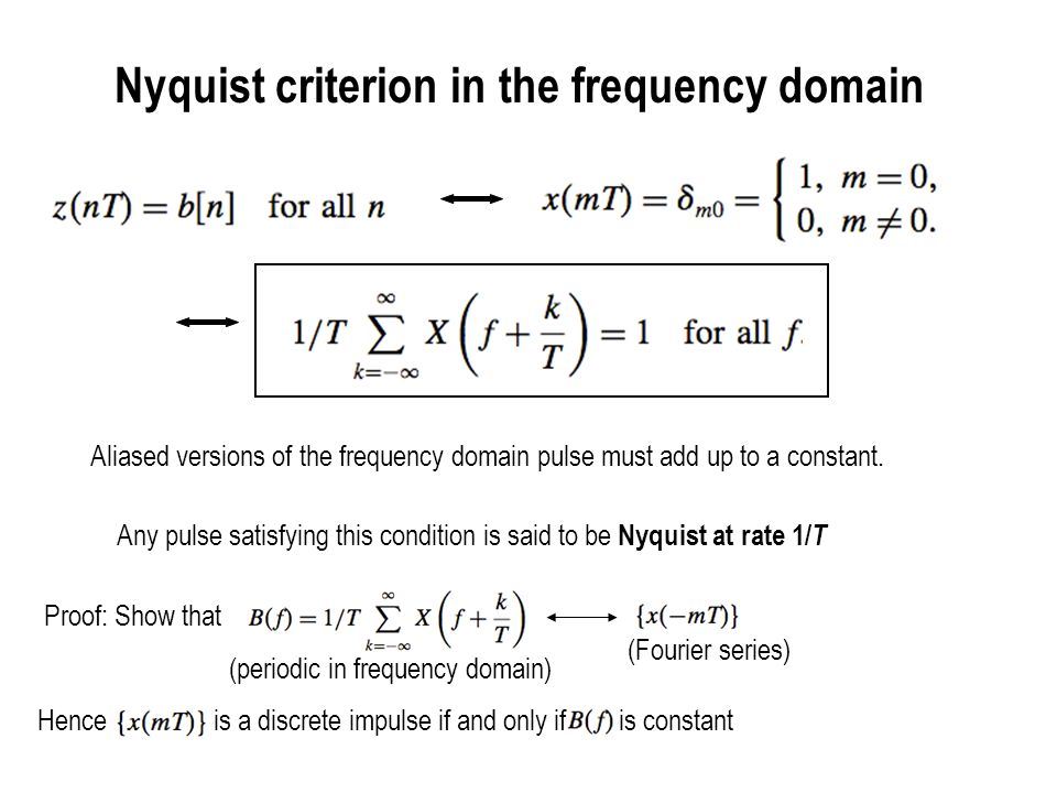 Nyquist criterion illustrated X(f) X(f- 1/T ) X(f + 1/T ) 1/T -1/T X(f) X(f- 1/T) X(f + 1/T) Frequency translates by 1/T add up to a constant 1/T-1/T Nyquist at 1/T Not Nyquist at 1/T Frequency translates by 1/T don t add up to a constant