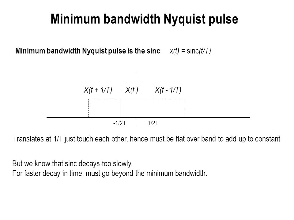 Design of bandlimited Nyquist pulses and excess bandwidth X(f) X(f- 1/T) X(f + 1/T) (1-a)/(2T) 1/(2T) (1+a)/(2T) -(1-a)/(2T) -1/(2T) -(1+a)/(2T)0 Slower roll-off in frequency gives faster roll-off in time Product of two sincs means 1/t 2 decay in time domain (good enough for peak power and ISI with timing mismatch to be bounded Trapezoidal frequency pulse has slope changes which translate to slower time decay We can speed up decay in time if we make the roll-off in frequency more gentle Fractional excess bandwidth a often expressed as percentage (e.g., a= 0.5 corresponds to 50% excess bandwidth)