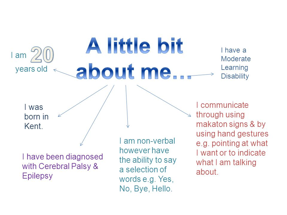 I am I was born in Kent. I communicate through using makaton signs & by using hand gestures e.g.